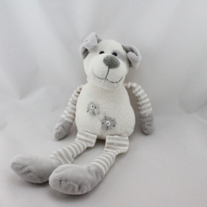 Doudou chien blanc gris MAXITA