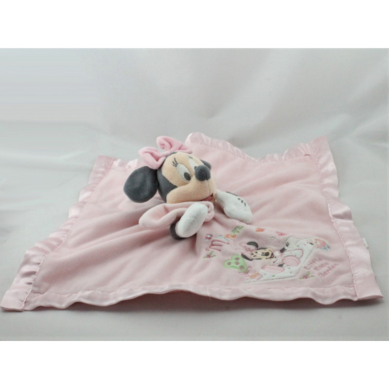 Doudou plat Minnie rose satin Little Rose Garden DISNEY