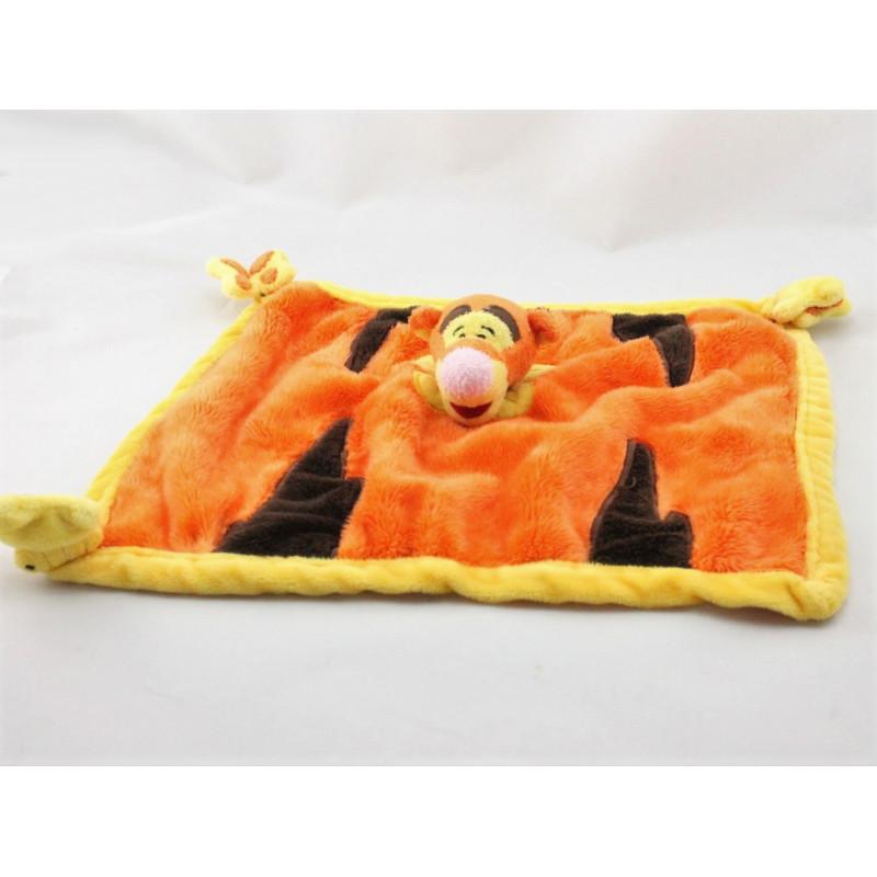 Doudou plat tigrou orange jaune papillons DYSNEYLAND