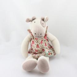 Doudou vache la grande famille robe fleurs MOULIN ROTY