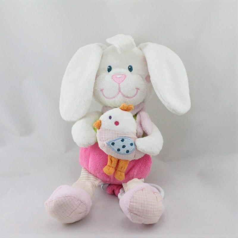 Doudou musical lapin blanc rose vert oiseau TEX