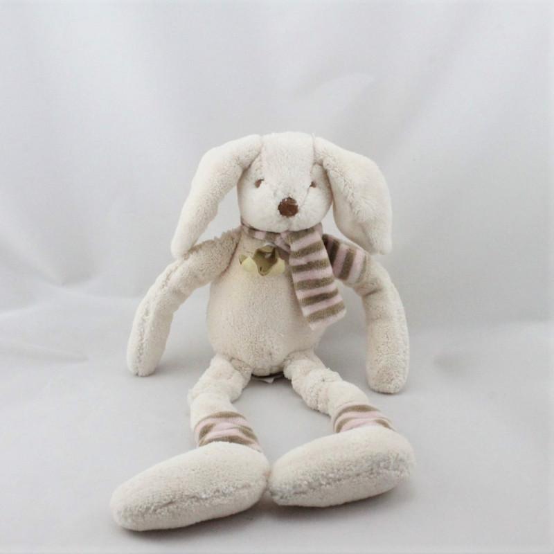 Doudou lapin écru beige rose rayé HISTOIRE D'OURS