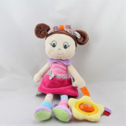 Doudou et compagnie eveil poupée rose mauve bleu hochet