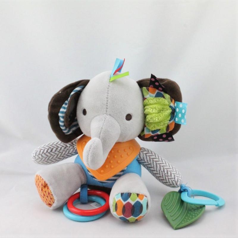 Doudou eveil éléphant gris bleu marron hochet SKK BABY