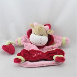 Doudou marionnette vache rose Nina adore les calins BABY NAT