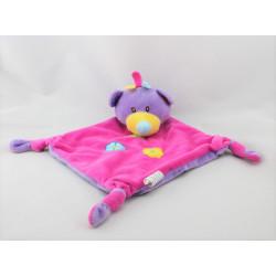 Doudou plat ours rose violet fleurs