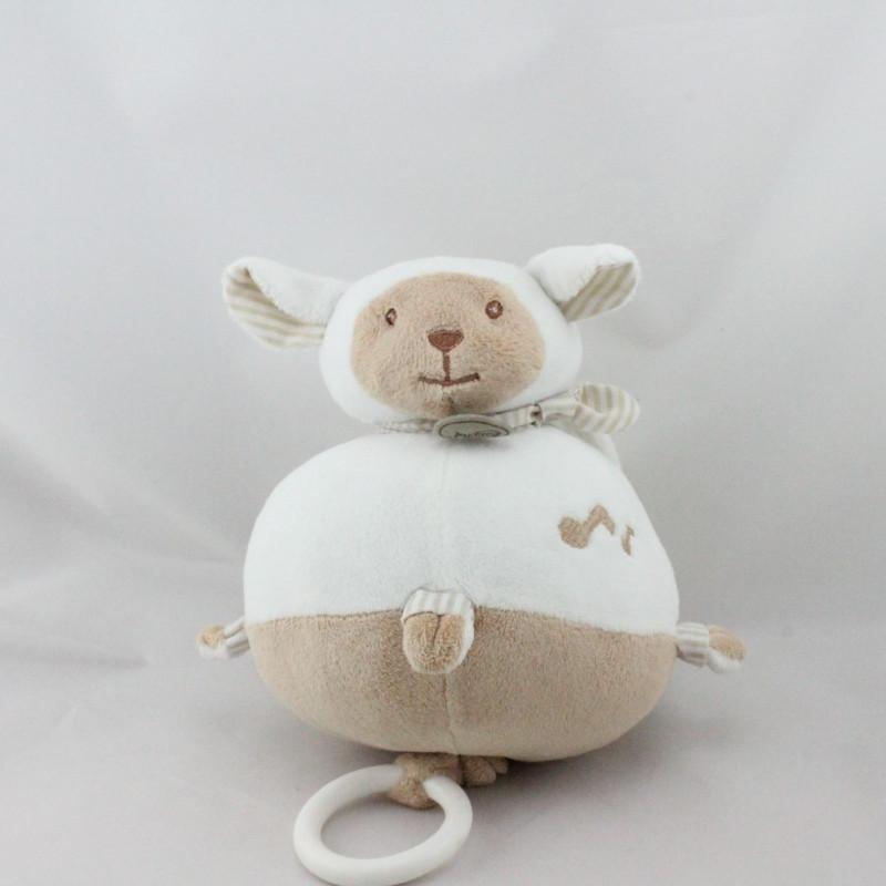Doudou musical mouton blanc beige BABY NAT