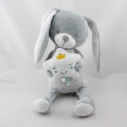 Doudou musical lapin gris blanc étoiles MOTS D'ENFANTS