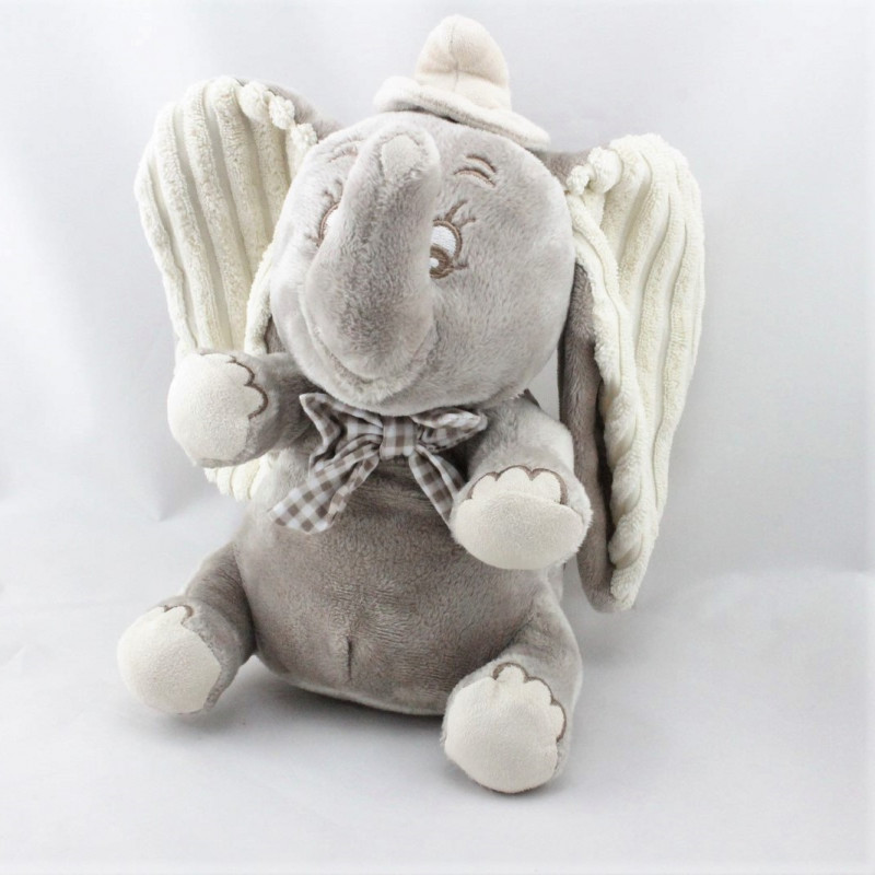 Doudou musical éléphant gris Dumbo noeud vichy NICOTOY