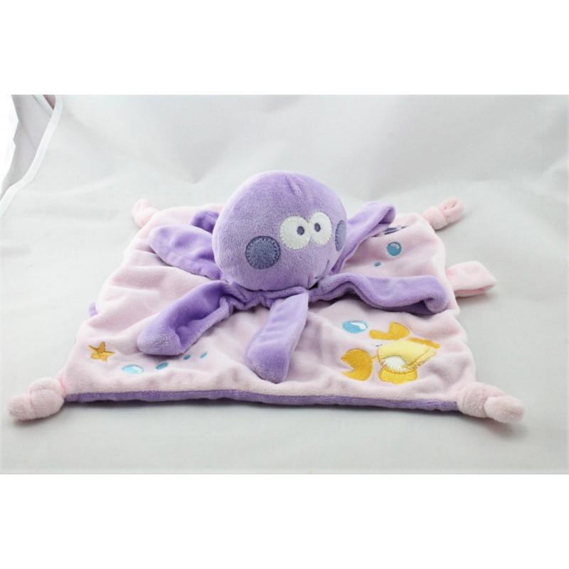 Doudou plat pieuvre violet mauve MOTS D'ENFANTS