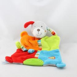 Doudou plat chien gris vert bleu rouge orange dentition BABYSUN