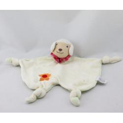 Doudou plat mouton jaune vert col rouge fleur orange FUPA