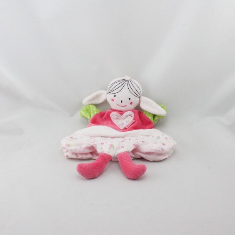 Doudou Plat marionnette poupée rose vert fleurs Absorba