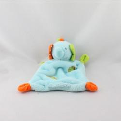 Doudou plat éléphant bleu vert orange BABY CLUB