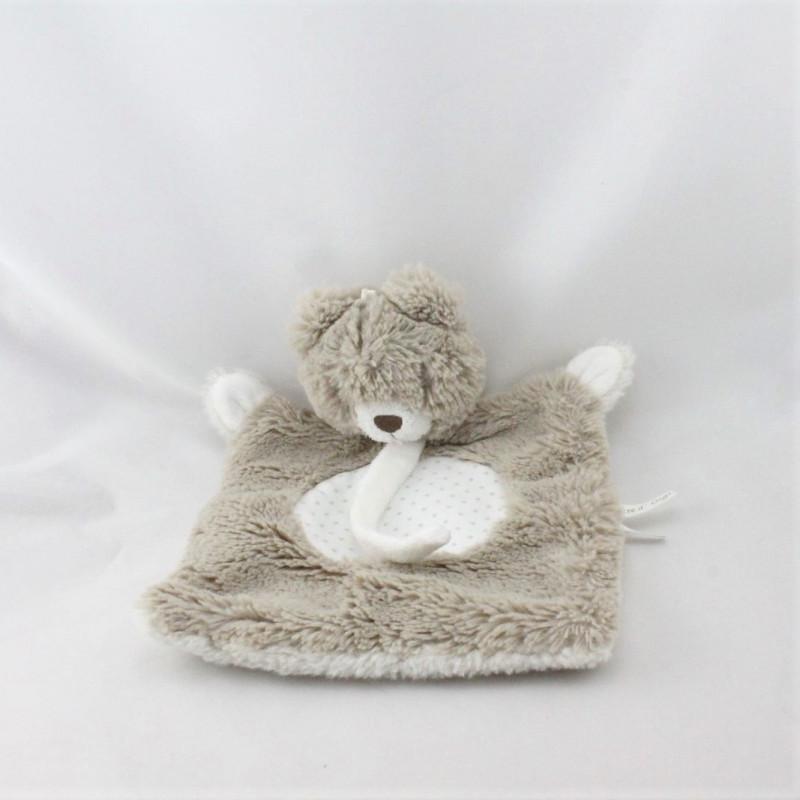 Doudou plat ours beige blanc étoiles SUCRE D'ORGE