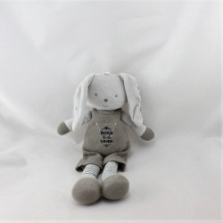 Doudou lapin gris beige rayé Born Loved BERLINGOT