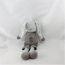 Doudou lapin gris beige rayé Born Loved BERLINGOT