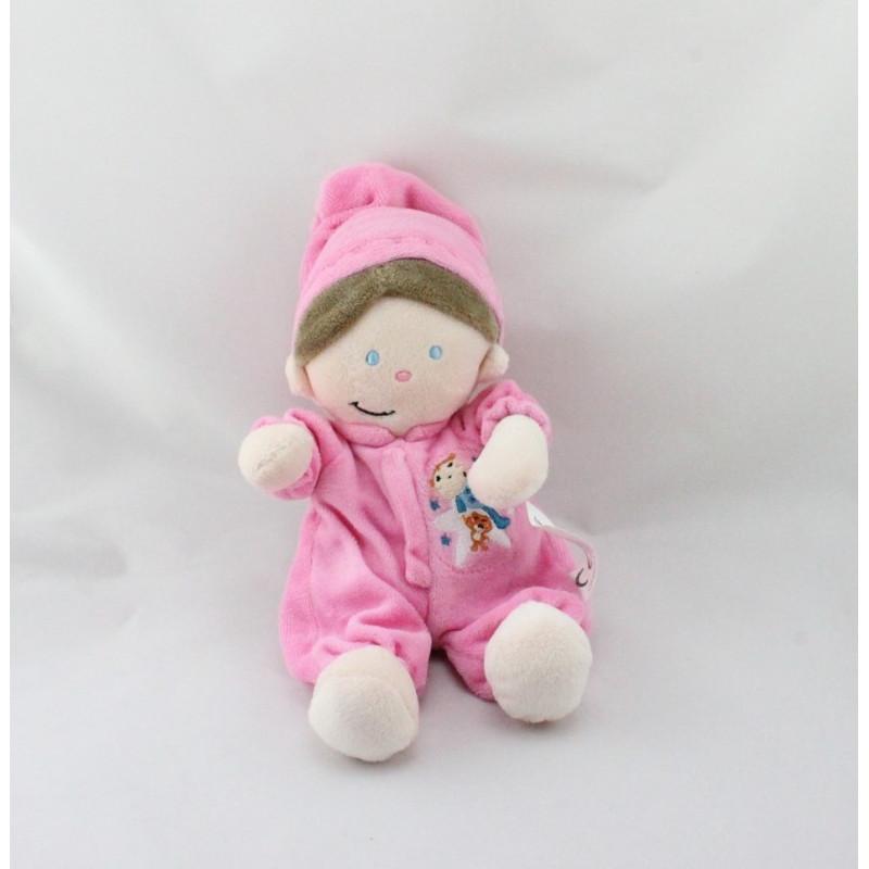 Doudou poupée lutin pyjama rose MAXITA