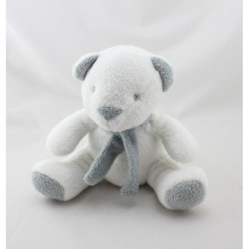 Doudou ours blanc gris écharpe GRAIN DE BLE