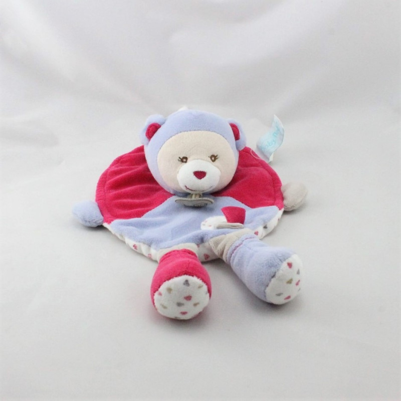 Doudou plat ours rose mauve blanc coeurs BABY NAT
