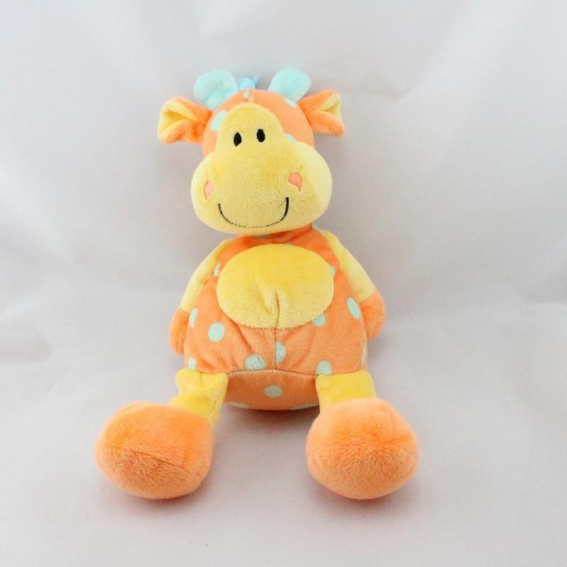 Doudou girafe orange jaune bleu Mes amis calins