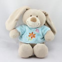 Doudou lapin beige bleu fleur papillon TEX