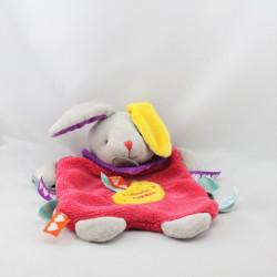 Doudou plat lapin rose jaune Les Bonbons BABY NAT