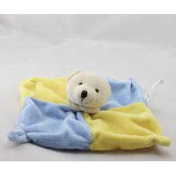 Doudou plat ours bleu jaune CMP