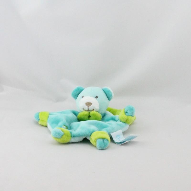 Petit Doudou attache tétine ours bleu vert BABY NAT