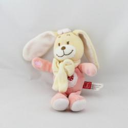 Doudou lapin rose coccinelle TEX 16 cm