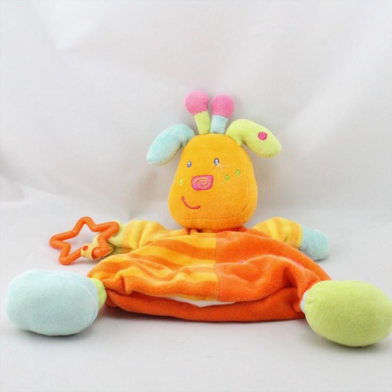 Doudou plat marionnette girafe orange bleu vert rose BABYSUN