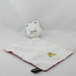 Doudou plat souris blanche rose fleurs PAPILI