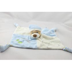 Doudou plat ours bleu blanc feuilles GIPSY