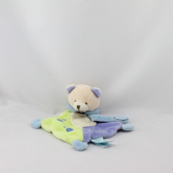 Doudou plat ours vert bleu super tétine BABY NAT