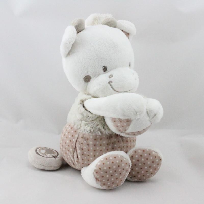 Doudou musical vache beige écru gris pois MOTS D'ENFANTS