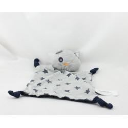Doudou plat chat gris bleu marine étoiles TAPE A L'OEIL