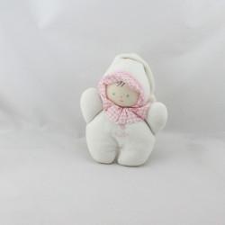 Doudou hochet poupon bébé blanc col rose vichy COROLLE