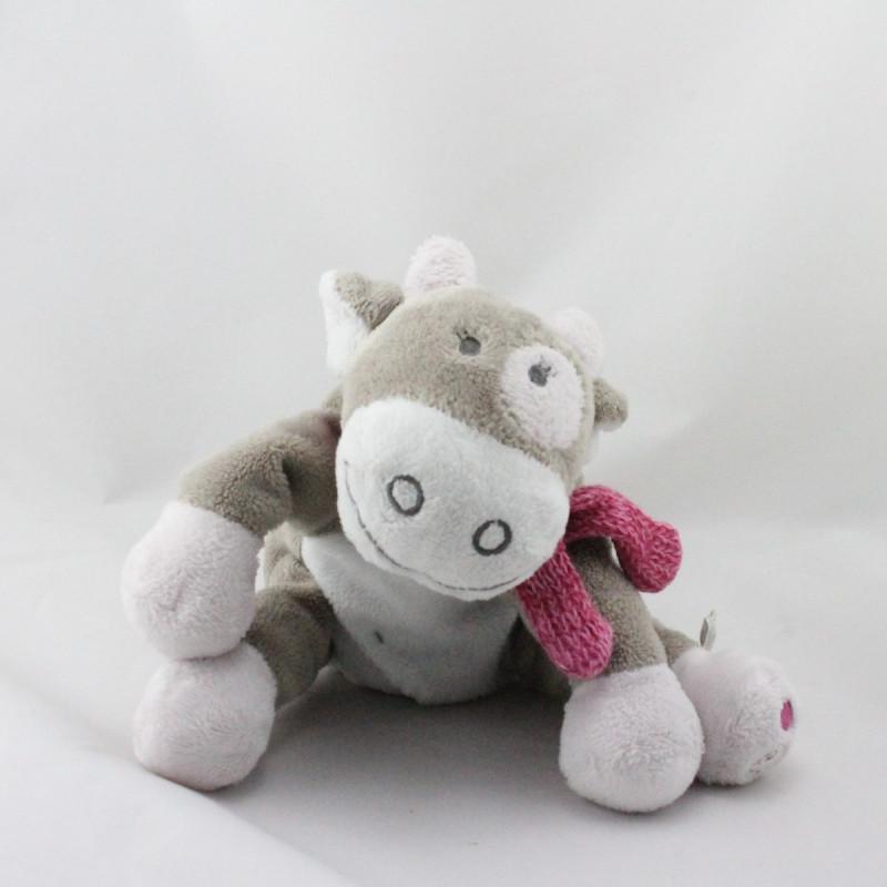 Doudou vache gris blanc rose lune Victoria et Lucie NOUKIE'S