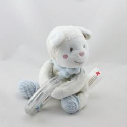 Doudou mouton blanc gris bleu hochet NICOTOY