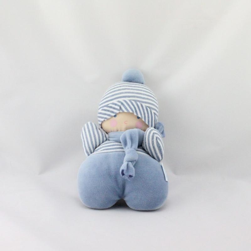 Doudou poupon bébé lutin rayé bleu hochet COROLLE