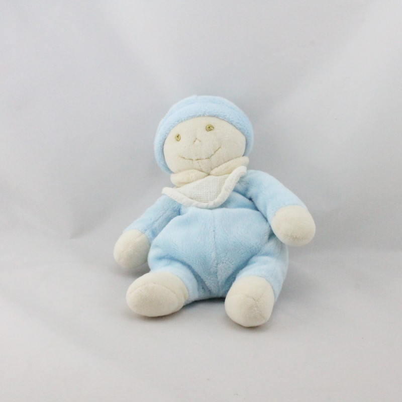 Doudou poupée lutin bleu blanc bavoir DE FIL EN IMAGE