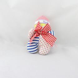 Doudou clown blanc rayé bleu pois rouge COROLLE