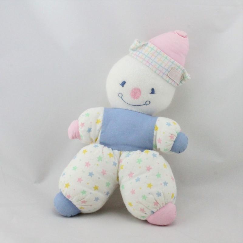 Ancien Doudou clown blanc bleu rose jaune étoiles COROLLE