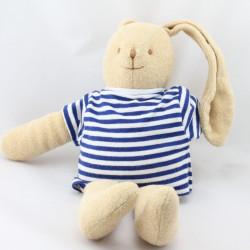 Doudou lapin beige pull rayé blanc bleu TROUSSELIER