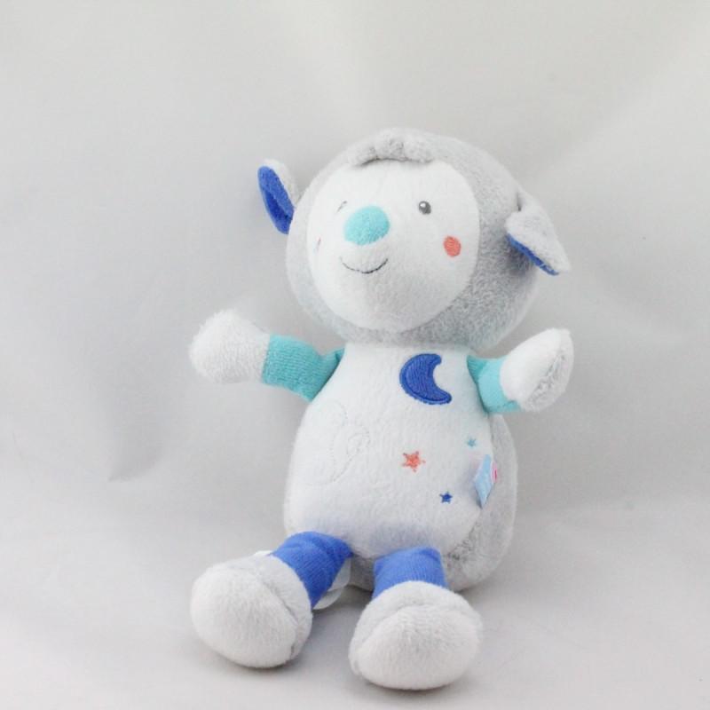 Doudou mouton blanc gris bleu lune étoiles SUCRE D'ORGE