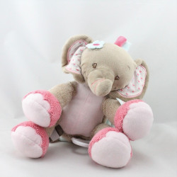 Doudou musical éléphant beige rose bleu fleurs NATTOU