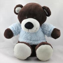 Doudou ours marron pull bleu AJENA