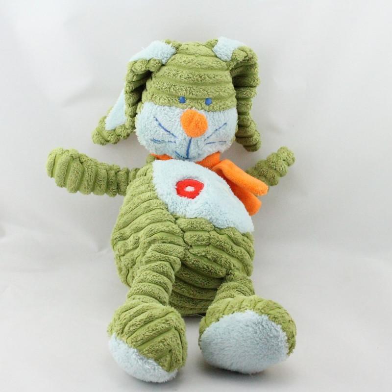 Doudou lapin vert bleu orange velours TEX