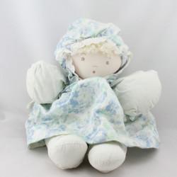 Ancienne poupée chiffon bleu fleurs MOULIN ROTY