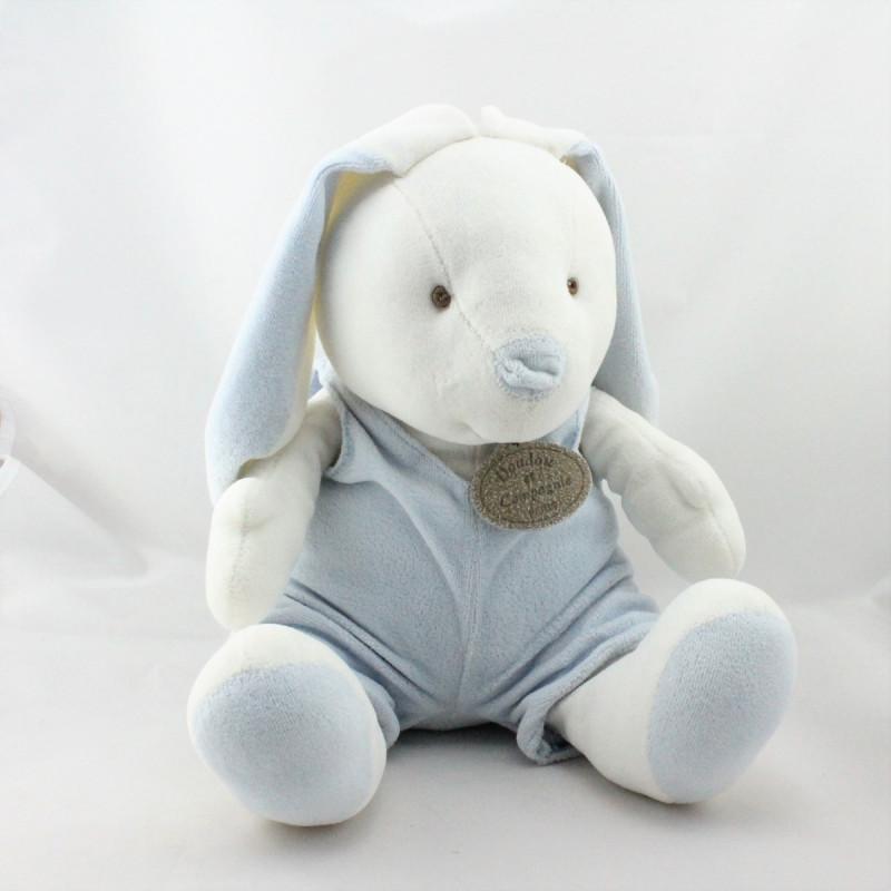 Doudou et compagnie lapin blanc salopette bleu